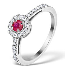 White Gold Ruby & 0.25ctw Diamond Ring Size K - S Made in London