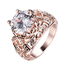 10mm Round Cut White Sapphire Wedding Ring 10KT Rose Gold Filled Jewelry Size5-9