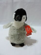 "Aurora Baby Emperor Penguin Plush Stuffed Animal Toy Small 7"" Gray White Black"