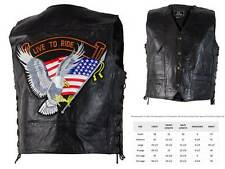 Black Leather LIVE TO RIDE VEST Motorcycle Biker Eagle US American Flag USA Mens