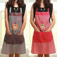 Lovely Cartoon Bear Stripe Dot Apron Waterproof Chef Kitchen Cooking With Pocket