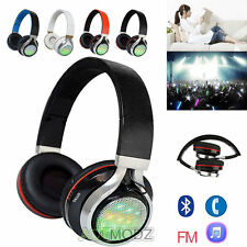 Wireless Bluetooth Headset Stereo Headphone LED FM for iPhone Samsung Foldable