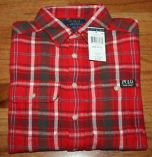 NEW NWT Polo Ralph Lauren Boys Long Sleeve Flannel Workshirt Red Plaid Shirt *4A