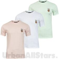 Mens Brave Soul T-Shirt Embroidered Pastel Top Short Sleeve Crew Neck Shirt