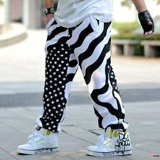 Mens Carpenter Hip-hop Harem Shorts Pants Stripe Casual Loose Shorts Jeans Large