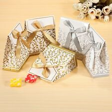 100x Silver Or Gold Wedding Favour Favor Sweet Cake Gift Candy Anniversary Boxes