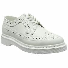 Dr.Martens 3989 White Womens Wingtip Brogue Smooth Leather Casual Oxford Shoes