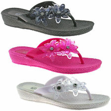 LADIES CASUAL SUMMER SANDALS FLIP FLOPS SIZE UK 3 - 8 BLACK FUCHSIA WHITE LP3029