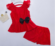 2pcs Toddler Kids Baby Girls Lace Outfits Bow tops +shorts Casual Clothes set