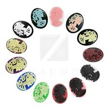 Resin Cameo Lolita Skull Oval Flatback Cabochons Embellishments 18/25/40mm BW