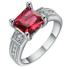 18kt  Gold Filled RED Sapphire CZ Wedding Engagement PARTY Ring Size 7-10