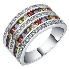 18kt white Gold Filled coloful gemstone CZ Wedding Engagement  Ring Size 7-10