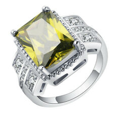 Size 7-10 yellow Emerald Zircon Ring Women's 10Kt White Gold Filled Wedding Band