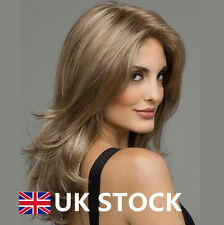UK Women Straight Wavy Wig Middle Long Hairpieces Blonde  Cosplay Full Wigs Hair
