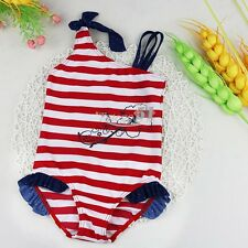Girls Toddler One-piece Swimsuit Striped Swimwear Beachwear Bathing Suit 1-8Y