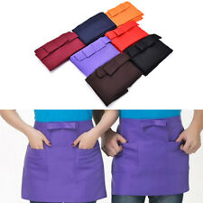 Kitchen Cotton Bow Short Half Waist Apron Bar Pub Cafe Server Waiter Waitress WF