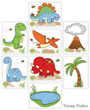 Dinosaur Nursery Decals Wall Art Mural Volcano Palm Tree Pond Stickers Decor
