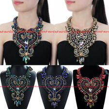 Fashion Jewelry Chain Crystal Glass Choker Chunky Statement Pendant Bib Necklace
