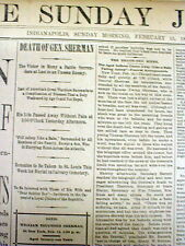 1891 headline display newspaper Civil War General WILLIAM T SHERMAN is DEAD