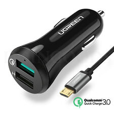 Ugreen Qualcomm Quick Charge 3.0 Car Charger 2.0 Adapter Android Apple Black Usb