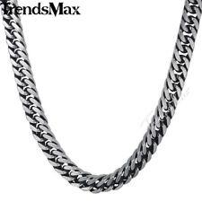 Mens Chain Boys Silver Stainless Steel Necklace 8/10mm Cut Curb Cuban Rombo Link