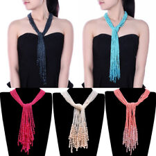 Fashion DIY Knot Strand Resin Seed Beads Chain Collar Long Pendant Bib Necklace