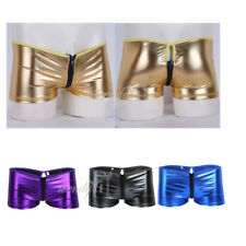 Men Patent Leather Zipper Boxer Briefs Wetlook Underwear Shorts Swimwear Trunk