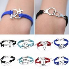 DIY Handmade Leather Charms Wristband Wrap Bracelet Bangle Friendship Jewelry