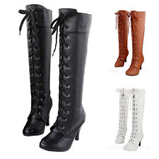 Vancy Womens lace up Western high heels Celebrity Shoes Ladies Boots size 4-10