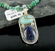 RARE $480Tag Silver Navajo Natural Lapis Turquoise Native American Necklace