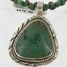 $660Tag Authentic Navajo .925 Sterling Silver Turquoise Native American Necklace