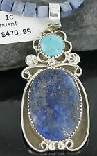 Large $680Tag Silver Navajo Natural Lapis Turquoise Native American Necklace