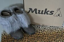 MUKS Grey Ankle Numtijah Suede Lamb Fur Wedge Booties Boots NIB Sz 5 6 7 8 9