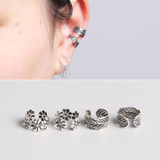 1x Unisex 925 Sterling Silver Ear Cuff Wrap Retro Leaf Flower Earring No Pierced