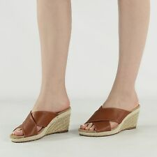 LIME BAY Ladies Womens Cross Over Strap Wedge Heeled Summer Sandals Tan Brown