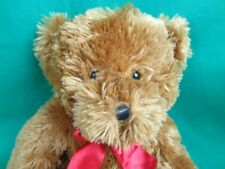 HERSHEY'S CHOCOLATE CARAMEL BROWN SHAGGY TEDDY BEAR RED BOW PLUSH STUFFED ANIMAL
