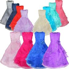 Flower Girl Wedding Bridesmaid Formal Dress Kids Pageant Tulle Ball Gown Dress