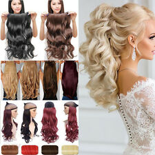 Real Natural 1PCS Full Head Clip In on Hair Extensions Long Thick Curly Hair FR7