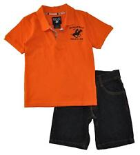 Beverly Hills Polo Club Boys Orange Polo 2pc Short Set Size 4 5/6 7