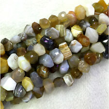 Botswana Agate Fortification Onyx Hand Cut Faceted Nugget Free Form Big Beads