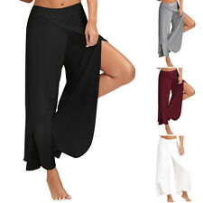 Women Casual loose Layered Palazzo Wide Leg Pants Yoga Trousers Side Slit Sport