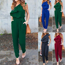 Summer Women's Casual One shoulder Chiffon Jumpsuit Romper Playsuit Long Pants