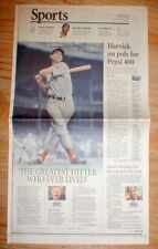 2002 display newspaper TED WILLIAMS DEAD Boston Red Sox baseball star player
