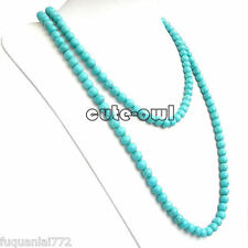 "8mm Natural Blue Old Tibet Turquoise Round Beads Necklace 36""AAA"