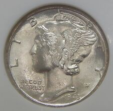 NGC MS66 FB 1943 D Mercury Silver Dime FULL BANDS <<VERY PRETTY>> See Pics 6378