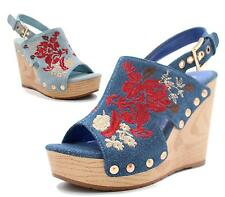 WOMENS DENIM CHUNKY WEDGE FLAT SOLE STUDS STITCHED OPEN TOE SANDALS SHOES