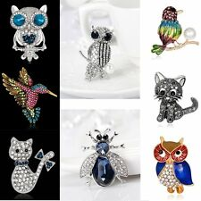 New Charm Rhinestone Bee Owl Bird Cat Brooch Pin Jewelry Women Party Wedding