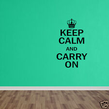 Vinyl Sticker Quote Keep Calm And Carry On Wall Decal British Quote Decal DP1