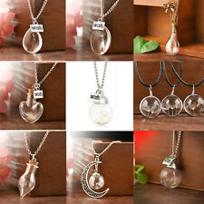 beauty Wish Glass Necklace Dandelion Seeds in Glass Pendant Long Chain ONE