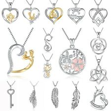 Love Heart Silver Dangle Pendant Charms Necklace Chain European Women's Jewelry